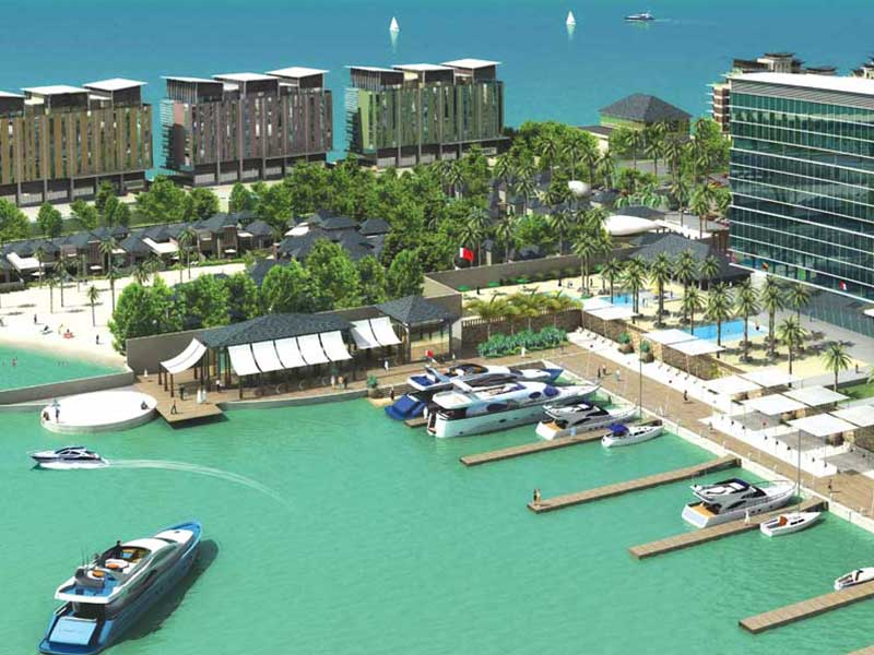 Air view of the Reef Island marina