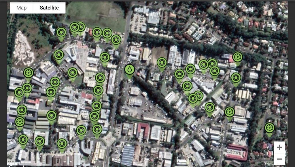 Sistema Flovac. Interfaz que muestra los pozos conectados.